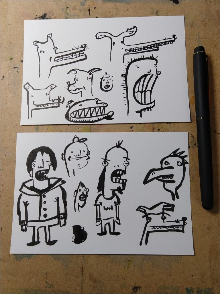 Cartoon style dogs with human teeth, as well as some weird looking characters, including a vampire and a guy with bad hair