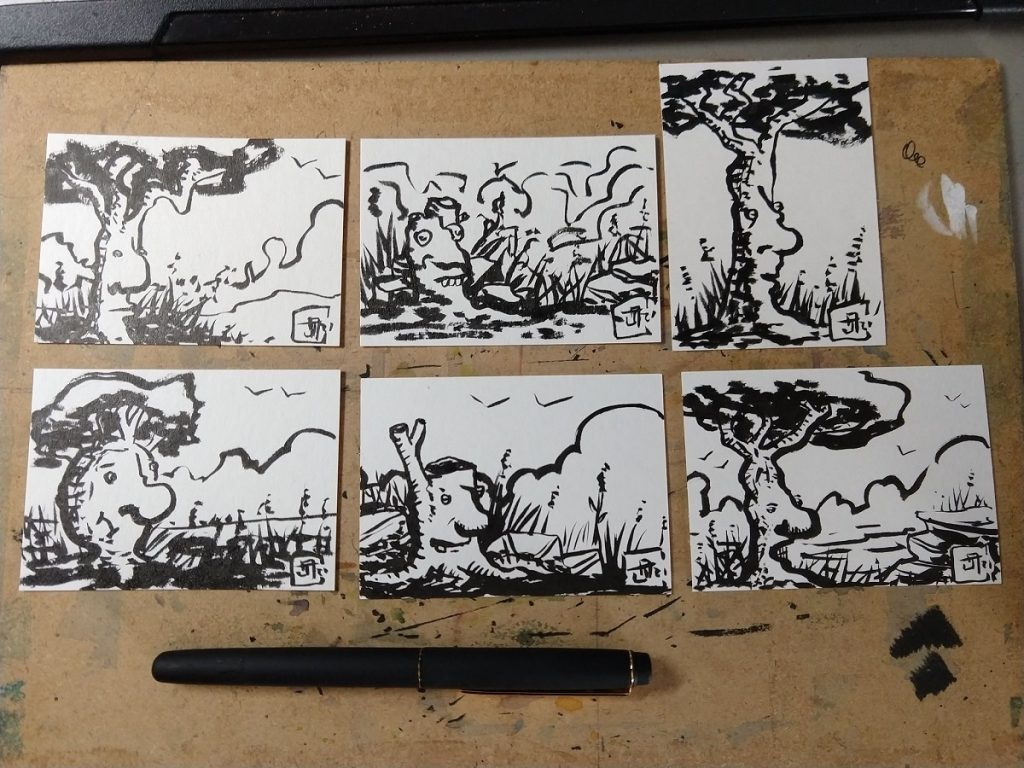 Six small brush pen drawings of trees and stumps with faces. One looks stoic, another really goofy, the third aloof, one rather bulbous, another looking smug, and the final one having an aggressive snarl.