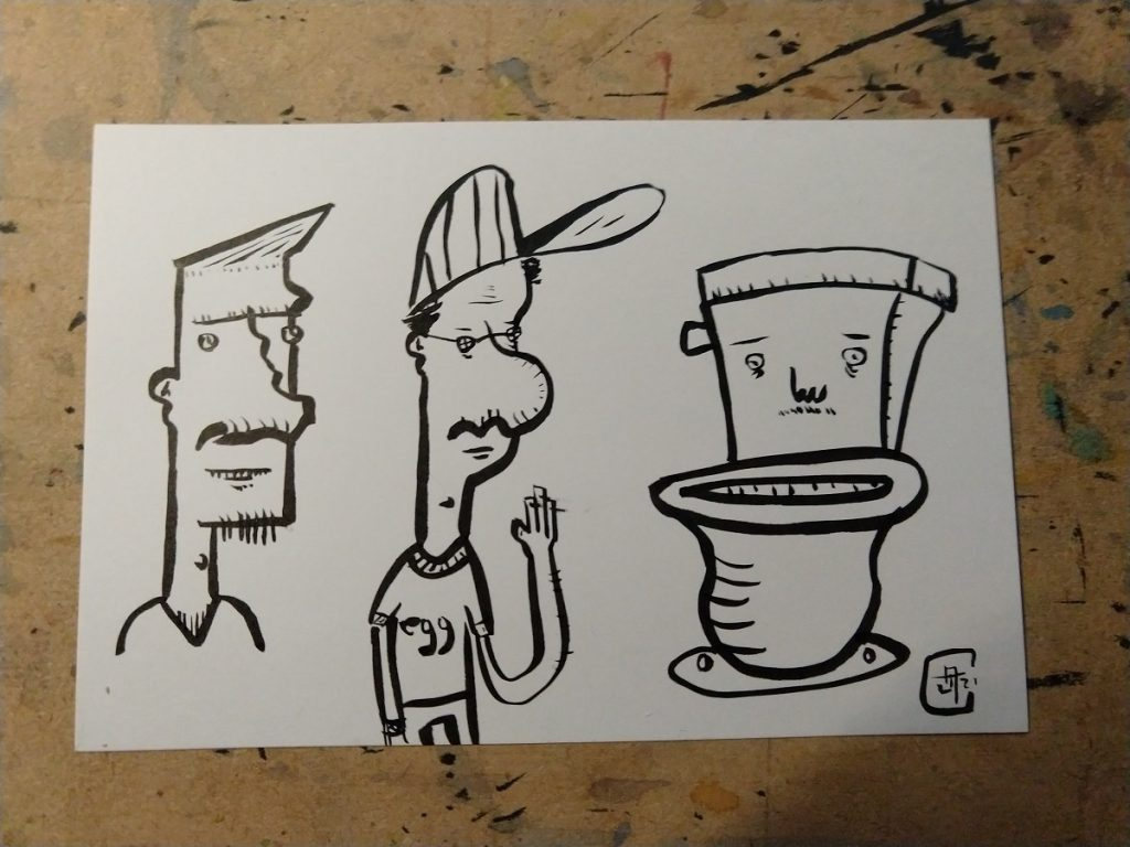 "A brush pen drawing postcard of three cartoonish figures.  From left to right, the bust of a man, a man in a baseball cap and a shirt saying ""egg"", and a toilet with a face."