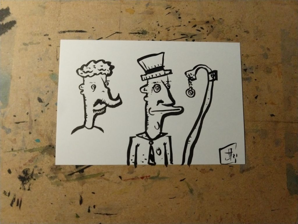 A brush pen drawing of two figures, a man with a trunk nose and another man with a top hat, monocle. and a watch