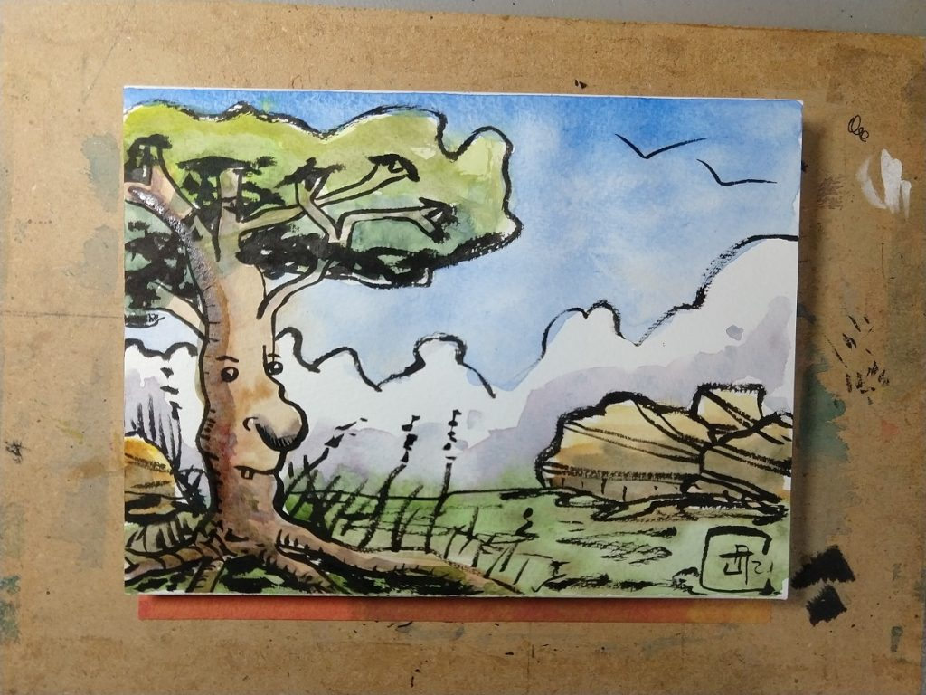 Postcard of a watercolor and brush pen illustration in bold, earthy tones.  In the foreground is a mature deciduous tree, with a face on the trunk featuring a bulbous nose.  In the background is a grassy landscape including rocks, clouds, and birds.